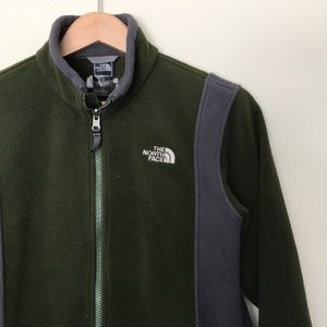 North Face boys L full zip green gray sweater top